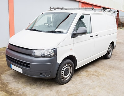 Van parked in residential street advertised To Let at £200 a month